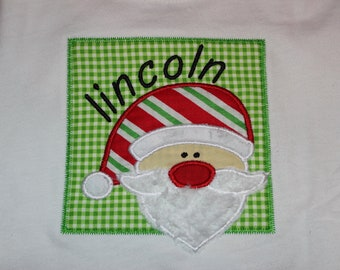 Santa Christmas shirt personalized- santa's beard is fluffy white fabric