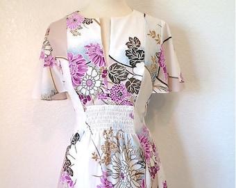 1960s Exotic Dress I Magnin Designe Dress Foral Print Pastel Maxi dress  M/L