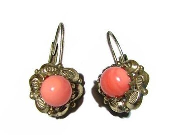 Free Shipping Edwardian Gold Filled Genuine Corals  Vintage German Drop Earrings Gorgeous Floral Design