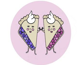 Pink Cherry Pie and Purple Blueberry Pie - 8x8 Funny Illustration Art Print  - Kids Decor - Best Friends Sisters