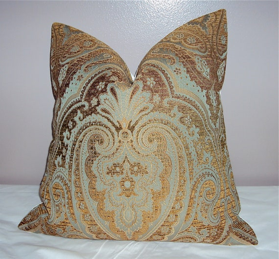 18x18 Designer Paisley Chenille Pillow Cover - Free Shipping - Moroccan Decor