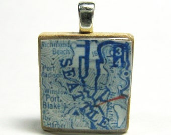 Seattle 1925 vintage Scrabble tile map pendant
