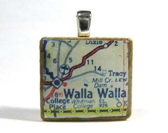 Walla Walla, Washington, and Whitman College - Your choice of vintage Scrabble tile map pendant