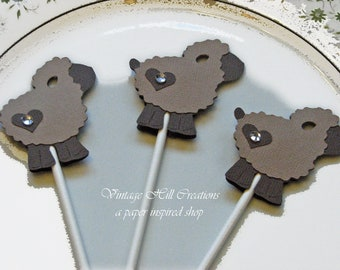 24 Little Chocolate Inspired - Lamb Cupcake Toppers, Baby Shower Favor
