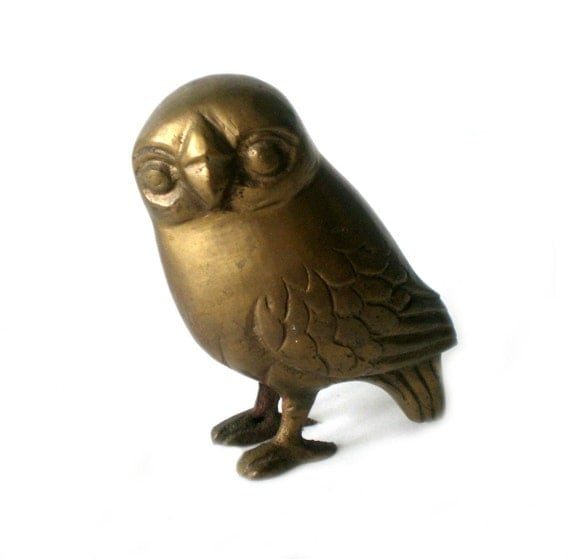 Brass Owl, Bird Figurine, Owl Statue, Paperweight, Woodland Decor