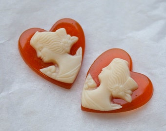 4 Small Vintage Coral Coloured Valentine Cameo Cabochons / Edwardian Titanic Era Beauty