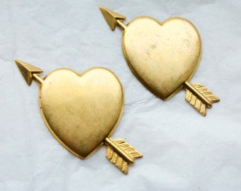 2 Vintage Brass Valentine Be Mine Heart Stampings