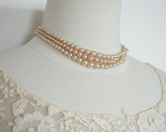 Vintage 1940s50s  Faux Glass Pearls / Made in Occupied Japan // 1 strands at 17 inches