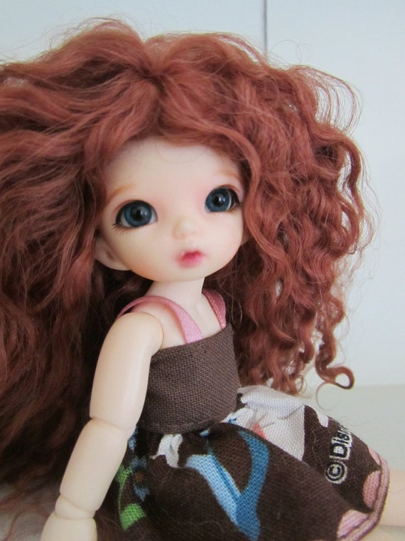 Curly Dark Auburn mohair wig for PukiPuki / Brownie / other tiny doll