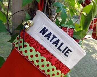 Whimsical Polka-Dot Red Wool Christmas Stocking