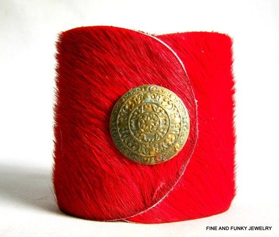 Reserved for Stacy - leather cuff bracelet red hair on hide  leather with agate and mother of pearl- size 1