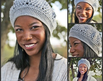 Slouchy Beret Silver Infant-Adult Sizes Available