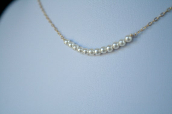 Wedding Pearl Necklace.  Bridesmaid Pearl Necklace.  Petite Swarovski Pearl Necklace on Gold