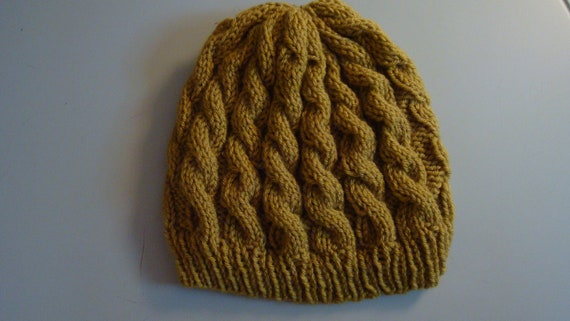 Cable Knit Yellow/Green Slouchy Hat