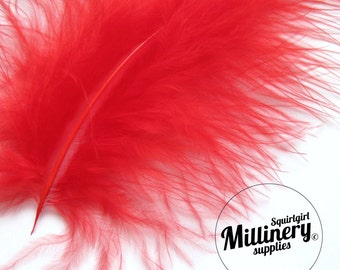 20 Red Fluffy Marabou Feathers for Millinery Hat Trimming & Crafts