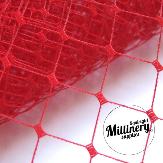 """Red English Merry Widow Millinery Hat Veil Veiling 12"""" Wide (1 yard)"""