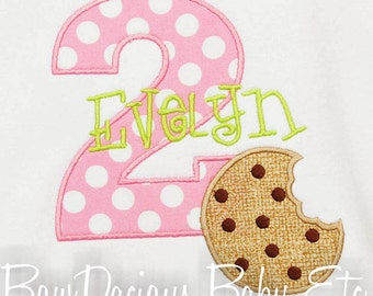 Cookie Birthday Shirt, Girls Birthday Shirt, Cookie Birthday Number, Monogrammed, Appliqued, Custom Fabric, Gift