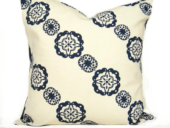 Pillow Cover Geometric Navy Blue Natural Modern Circles Pinwheels Decorative Repurposed 18x18