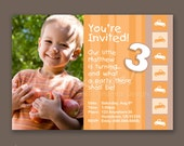 Boy Toddler 3rd Birthday - Photo Invitations