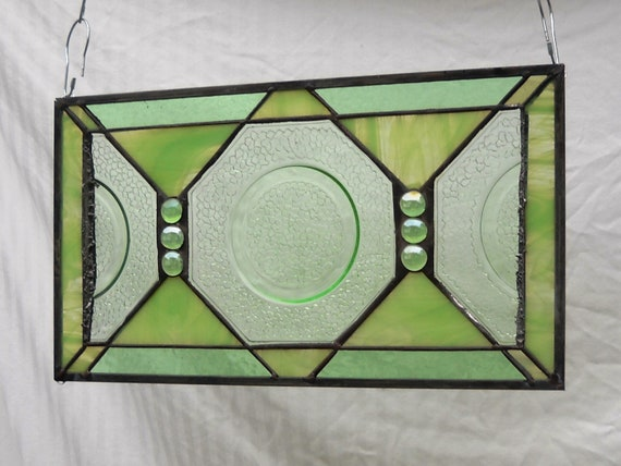 Green By Cracky Depression Glass Stained Glass Plate Panel 1920s 1930s Vintage Dish
