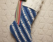 Blue and White Vintage Chenille Heirloom Christmas Stocking with Big Bow