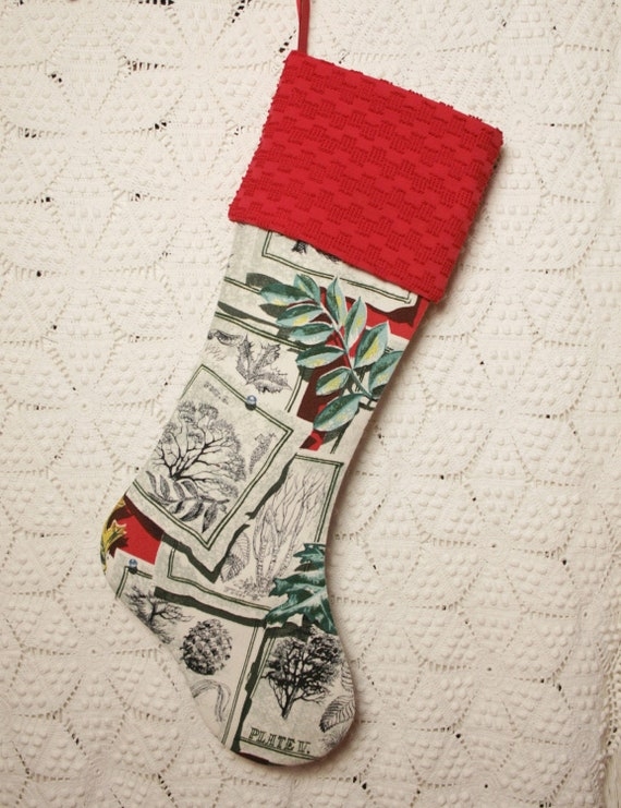 Botanical Sketches Mid Century Barkcloth 23-Inch Christmas Stocking with Vintage Chenille Cuff