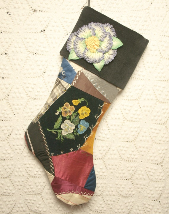 Elegant Antique Silk and Velvet 1800s Crazy Quilt Christmas Stocking - Handpainted Pansies, Velvet Cuff and Millinery Flower