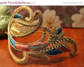 "ON SALE Hair accessories, Large 7"" Gold, teal and mauve scrolled headband with rhinestones on dulled gold metal headband, gorgeous"