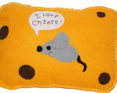 Bright yellow i love cheese Mouse Plush Soft Toy/Cushion/Pillow