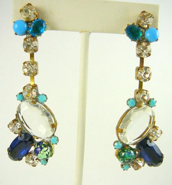 VERY OLD CZECH Multi Blue Rhinestone Earrings