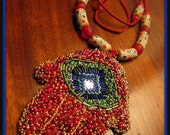 Red Hamsa Necklace with mirror and African beads Item148