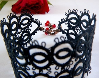 Filigree Lace Tatted Bracelet Cuff Vintage Feel - MARRAKESH NIGHT - black and red crystals - made to order
