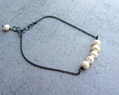 Tiny Oxidized sterling silver chain beaded bracelet with white pearls