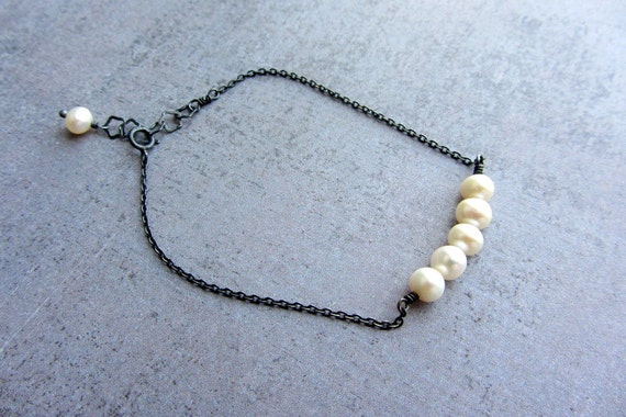 Tiny Oxidized sterling silver chain beaded bracelet with white pearls, june birthstone