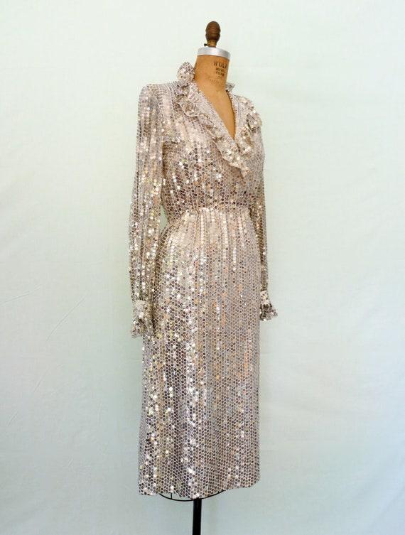 1970s Silver Sequin Disco Dress Vintage 70s Glam Ruffle Dress Richilene S/M