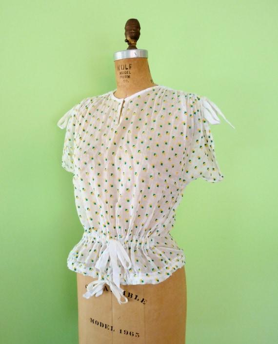 Moving SALE 30% Off Vintage 70s Sheer White Gauze Blouse Peplum Waist Ribbons Embroidered Polka Dot Short Sleeve Top