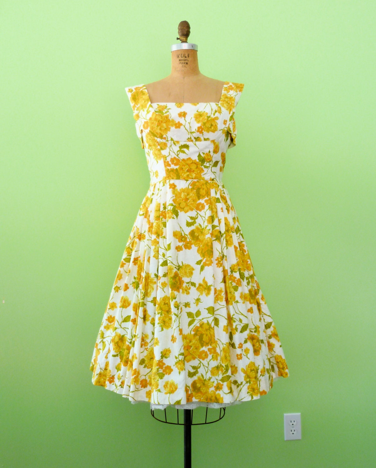 1950s Floral Dress Yellow White Fit Amp Flare Cotton By