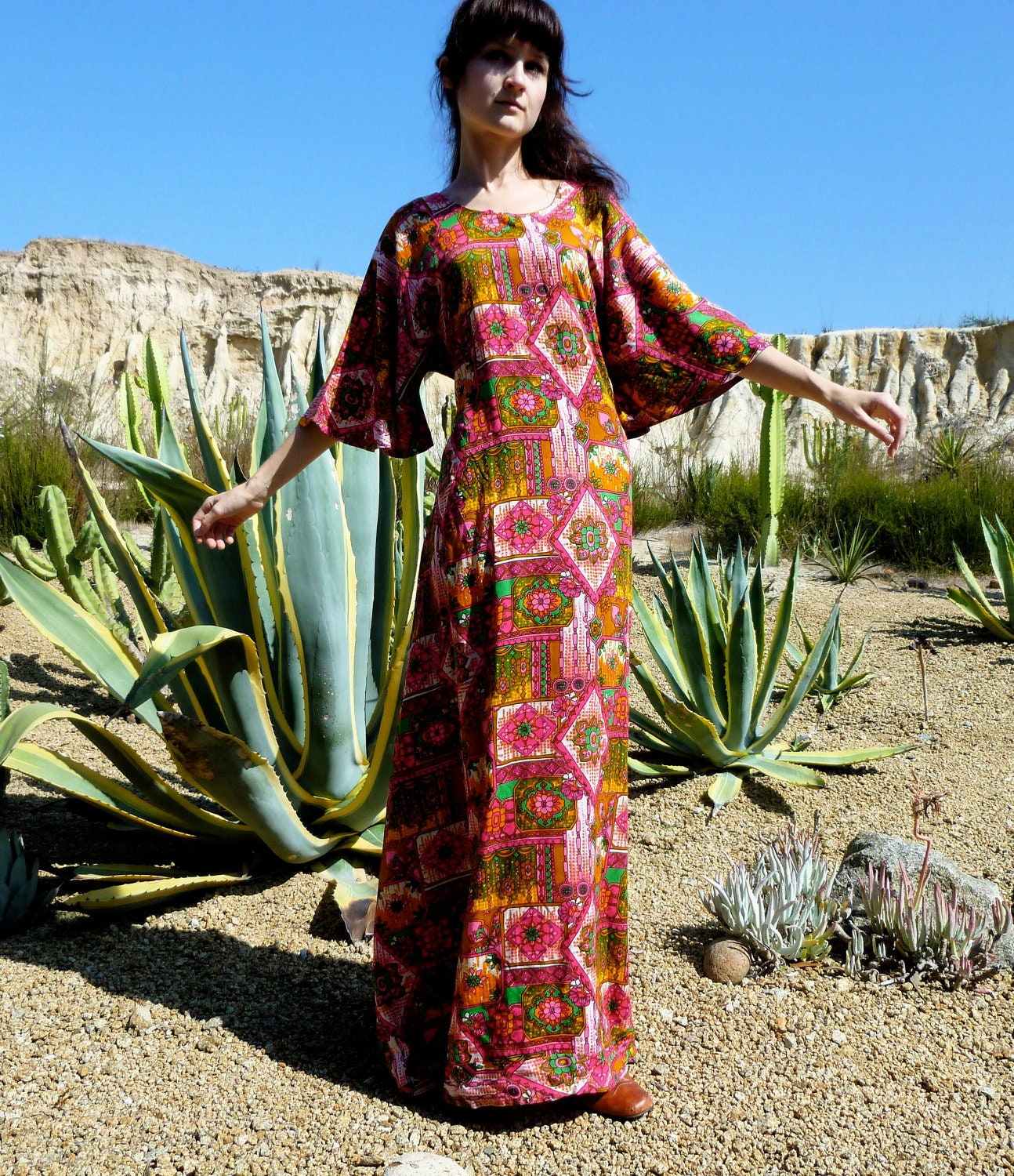 Moving SALE 30% Off Vintage 60s Hippie Maxi Dress Bell Sleeve