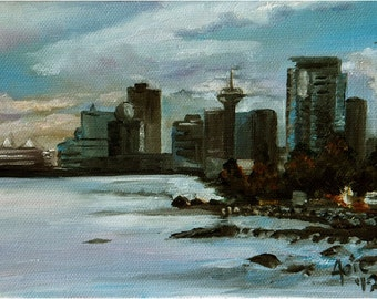Vancouver Cityscape Original Oil Painting - 7x5in