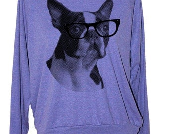 Womens BOSTON TERRIER sweatshirt long sleeve pullover shirt-- american apparel S M L -- (4 Color Options) z skip n whistle