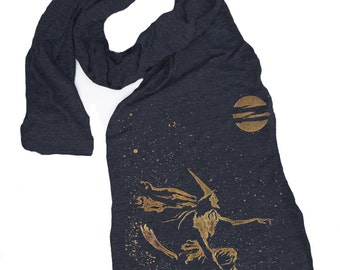 WITCH ON BROOM scarf -- american apparel tri blend t shirt material skip n whistle