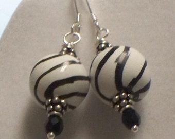 Kazuri black and white earrings