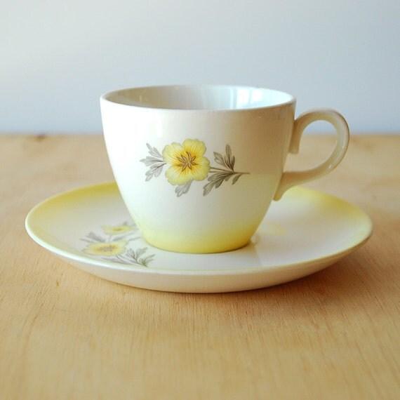 Golden Daisy Tea Cup and Saucer Set - Homer Laughlin Duratone - Buttercup
