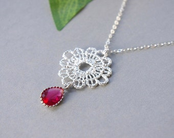 Lace Necklace, January Birthstone Necklace, Garnet Crystal Red Necklace, Birthstone Necklace January, Sterling Silver Plated Lace Pendant