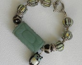 Jade Focal Stone Handmade Beaded Bracelet Lampwork Glass Pearl Owl Charm