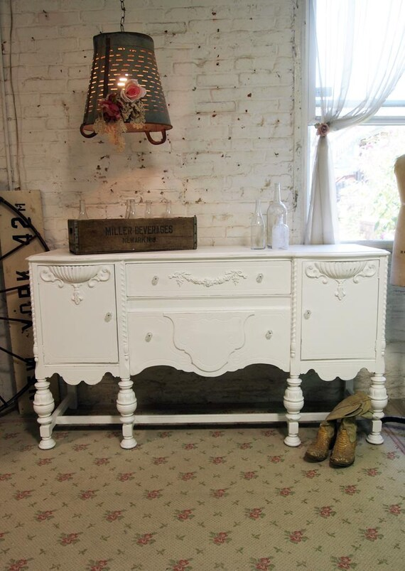 Painted Cottage Chic Shabby White French Server/ Buffet SV290
