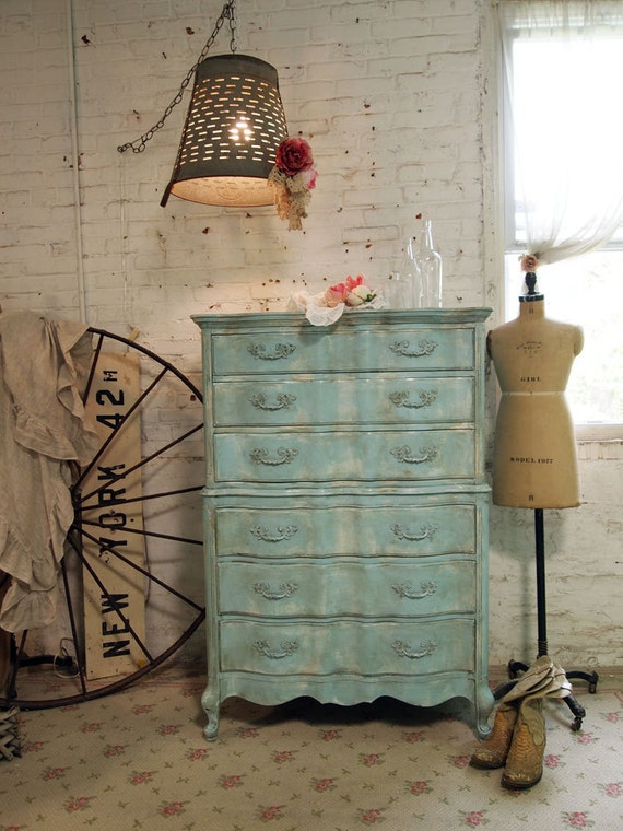 RESERVE MAGGIE Painted Cottage Chic Shabby Aqua Romantic Dresser CH364