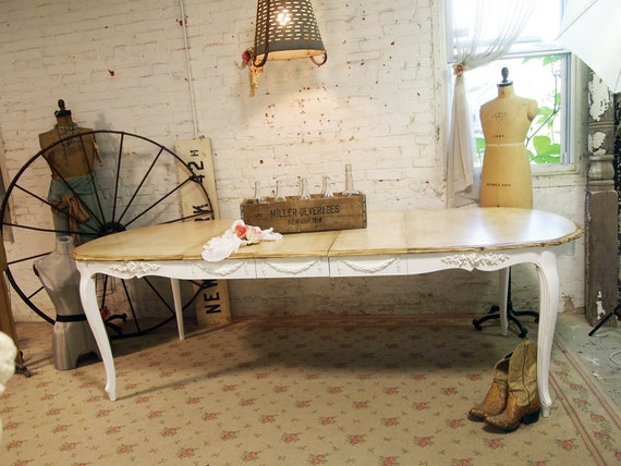 Painted Cottage Chic Shabby White French Dining Table TBL256