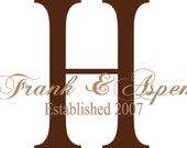 QUOTE-Monogram First Names Year Established-special buy any 2 quotes and get a 3rd one free of equal or lesser value