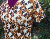 1970s Maxi Dress - Abstract Op Art Maxi Dress - 70s Maxi Dress - Polyester Maxi Dress - Geometric Maxi Dress